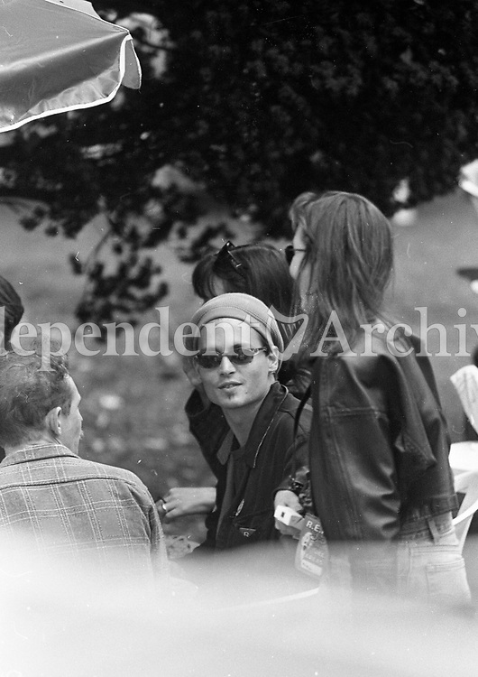 Johnny Depp at the 1995 Slane Castle concert, 22/07/1995 (Part of the Independent Newspapers Ireland/NLI collection).