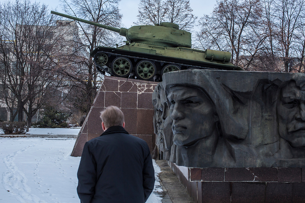 A monument with a T-34 tank, circa World War II, at the Malyshev Tank Factory on Wednesday, February 11, 2015 in Kharkiv, Ukraine.