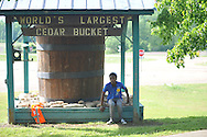 Actor Stephon Hunter rehearses for a scene in Big Significant Things at the Cedar Bucket near Oxford, Miss. on Thursday, May 9, 2013.