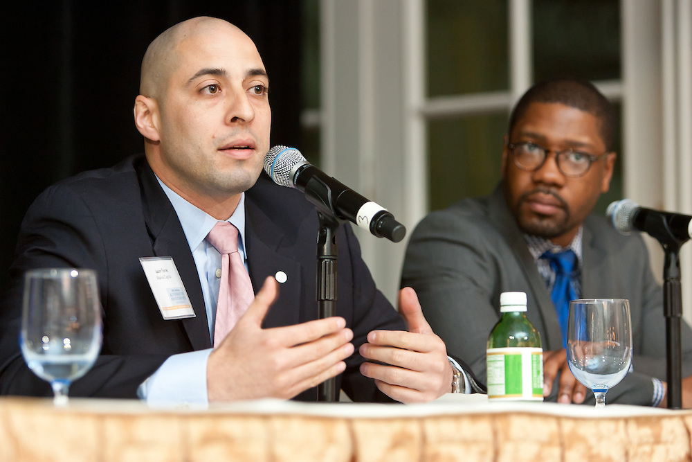 Jason P. Torres, Chief Operating Officer & Principal, Mansa Capital during panel at the SEO 2nd Annual Alternative Investment Conference held May 17, 2011 at the Essex House Hotel in New York. Organized by Sponsors for Educational Opportunity (SEO), the conference is part of SEO's Alternative Investments Program, which includes the Alternative Investment Fellowship Program (AIFP), an initiative launched in 2009.  The AIFP is an educational program for young professionals from backgrounds traditionally underrepresented in the alternative investments industry.  The AIFP combines workshops, training and mentoring to strengthen Fellows as candidates for positions in private equity and other alternative investments.  The program also improves Fellows' skills as analysts by exploring strategic decisions involved in transactions from the client's point of view.