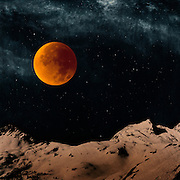 Bloodmoon over snow capped Alps - manipulated photograph<br /> Redbubble Prints: http://rdbl.co/2ffTzta<br /> Society6 prints: http://bit.ly/2fZoNUD