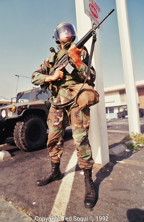A National Guard soldier in front of a Ralph's Grocery Store in South Central Los Angeles.