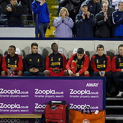 WEST BROMWICH, ENGLAND - Wednesday, September 26, 2012: Liverpool's youngest ever bench with an average age of 19 years 10 days against West Bromwich Albion during the Football League Cup 3rd Round match at the Hawthorns. L-R: Raheem Sterling, Jerome Sinclair, 'Suso' Jesus Joaquin Fernandez Saenz De La Torre, Andre Wisdom, Conor Coady, Adam Morgan, Danny Wilson. (Pic by David Rawcliffe/Propaganda)