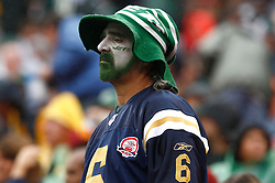 Sept 27, 2009; East Rutherford, NJ, USA; A NY Jets fan looks a bit dejected after a fumble by New York Jets quarterback Mark Sanchez (6) during the first half at Giants Stadium.