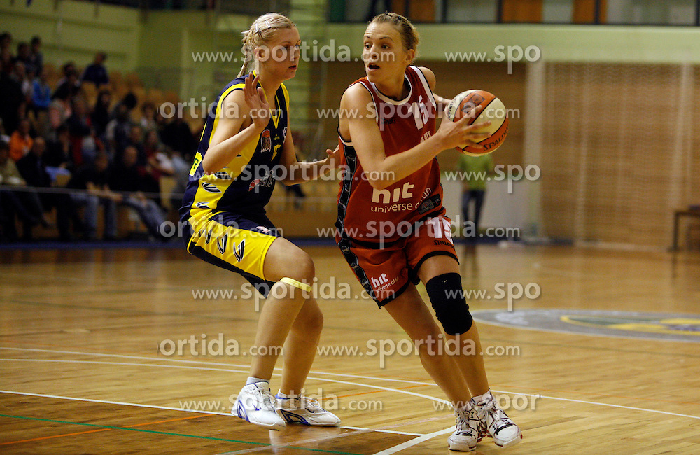 Anja Prsa of Merkur Celje vs Lidija Becanovic of Hit at finals of Slovenian women basketball 1st league between Hit Kranjska Gora and ZKK Merkur Celje, on May 15, 2007, in Kranjska Gora, Slovenia. (Photo by Vid Ponikvar / Sportida)