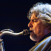 Tony Malaby plays in his Tony Malaby Tuba Trio at the Culture Project Theater on Bleeker Street with Dan Peck playing tuba and John Hollenbeck on drums during the NYC Winter Jazz Fest, New York City, NY, Friday January 11, 2013.