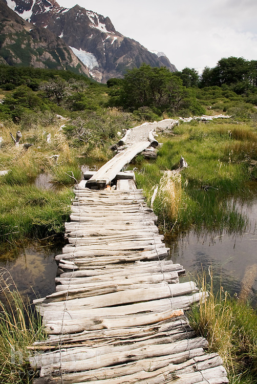 The 10 mile approach to Campamiento Poincenot crossed marshes and streams, all made passable by rustic, hand-hewn bridges.