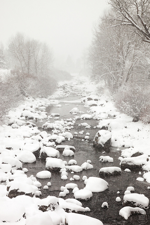 """""""Snowy Truckee River 6"""" - Photograph of a snowy Truckee River in Downtown Truckee, California."""