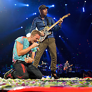 WASHINGTON, DC - July 9th, 2012 - Coldplay perform as confetti cannons spray at the Verizon Center in Washington, D.C. The band's 2011 album, Mylo Xyloto, reached number one in thirty countries. (Photo by Kyle Gustafson/For The Washington Post)