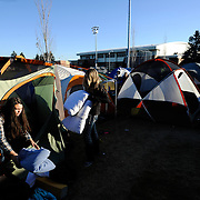 Students wait in line near tent city for the New Mexico State game. (Photo by Gonzaga University.)
