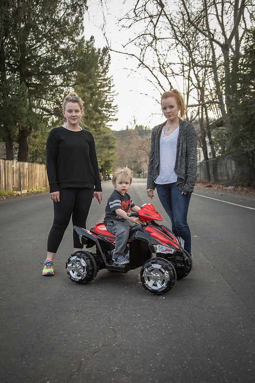 """I'm happy it only goes 2.5 mph...I can catch him.""  -Courtney Stockton (right) with her two year old son, Theo, and friend, Jordan VanDine on North Oak Street in Calistoga"