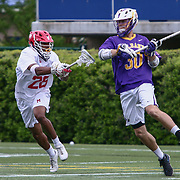 Albany Midfielder JOHN GLANCY (30) and Maryland Defenseman ISAIAH DAVIS-ALLEN (26) in action during the second half of a 2017 NCAA Division I Men's Lacrosse Quarterfinals game between #1 Maryland and #8 Albany Sunday, May. 21, 2017 at Delaware Stadium in Newark, Delaware.