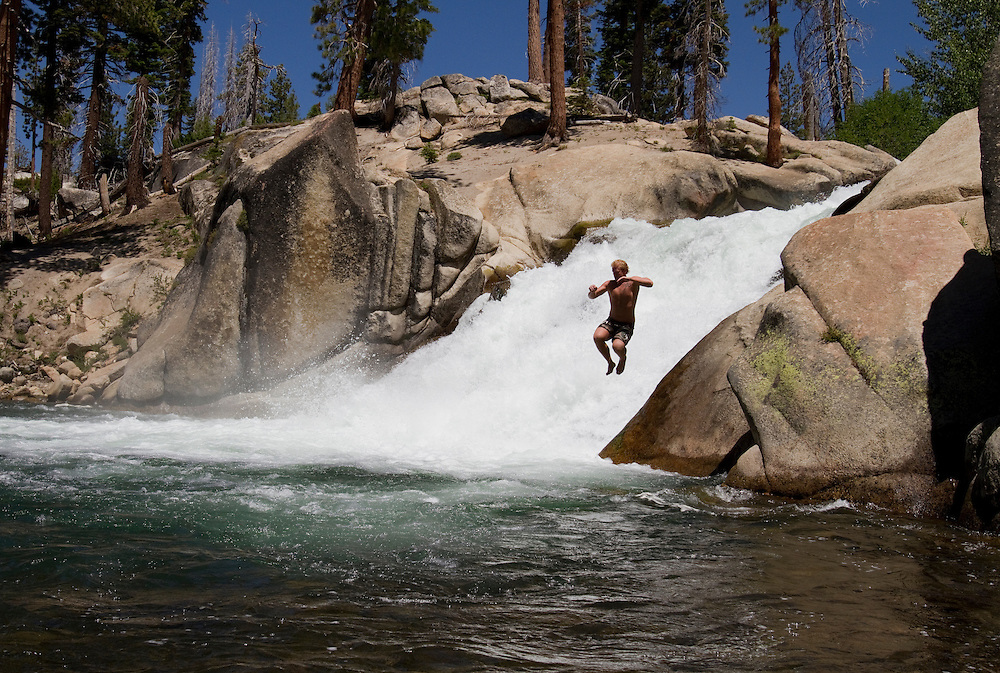Lower Rainbow Falls in the Ansel Adams Wilderness area near Mammoth Lakes, CA is where a large pool of water invites swimmers and rock jumping.