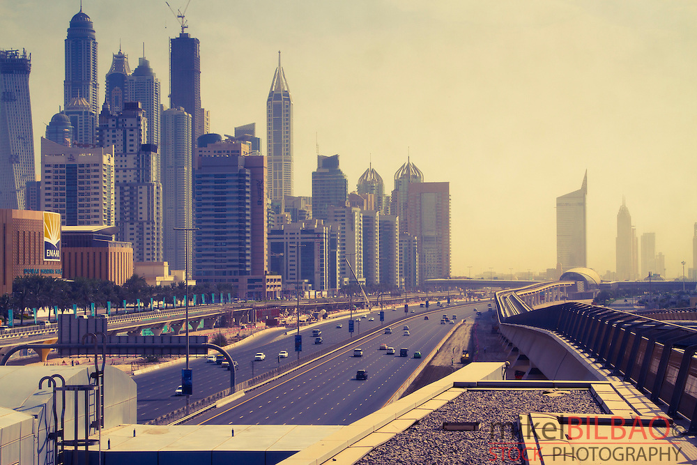 Sheikh Zayed Road and city buildings. Dubai city.  Dubai. United Arab Emirates.