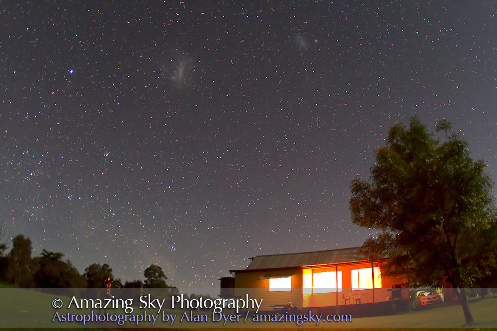 Magellanic Clouds over Timor Cottage, near Coonabarabran, NSW, Australia, December 11, 2010. Taken with Canon 7D camera and 15mm  lens at f/2.8, for 30 seconds at ISO 1250.