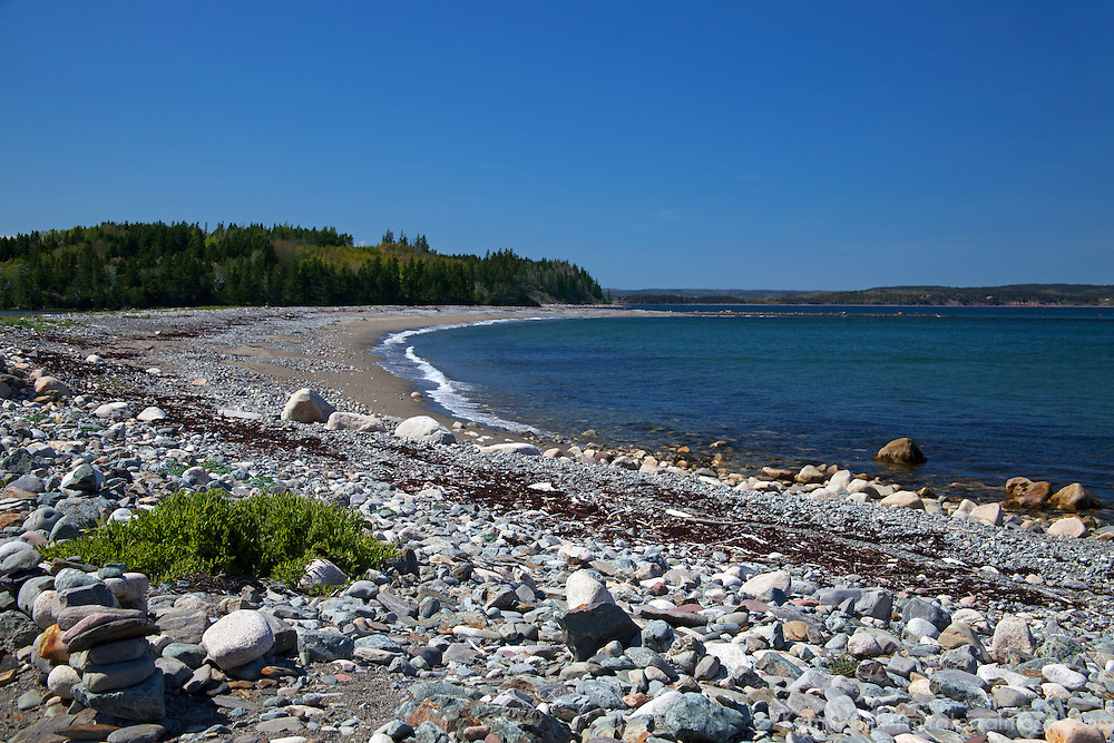 North America, Canada, Nova Scotia, Halfway Cove. Beach near Halfway Cove on Chedabucto Bay.
