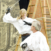 WSU senior Kelly Brumbach (left) and acting movement professor Bruce Cromer put on a demonstration outside the Creative Arts Center during the 12th Annual ArtsGala, Saturday, April 2, 2011.