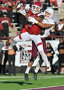 November 19, 2016; Las Cruces, N.M.; New Mexico State Aggies wide receiver Royce Caldwell (1) catches a touchdown pass in the first quarter during a game at Aggie Memorial Stadium. New Mexico State defeated Texas State 50-10.
