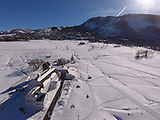 SHOT 3/2/17 4:00:48 PM - Aerial photos of Park City, Utah. Park City lies east of Salt Lake City in the western state of Utah. Framed by the craggy Wasatch Range, it's bordered by the Deer Valley Resort and the huge Park City Mountain Resort, both known for their ski slopes. Utah Olympic Park, to the north, hosted the 2002 Winter Olympics and is now predominantly a training facility. In town, Main Street is lined with buildings built primarily during a 19th-century silver mining boom that have become numerous restaurants, bars and shops. (Photo by Marc Piscotty / © 2017)