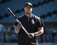 CHICAGO - JUNE 29:  Jose Abreu #79 of the Chicago White Sox looks on during batting practice prior to the game against the Minnesota Twins on June 29, 2016 at U.S. Cellular Field in Chicago, Illinois.  (Photo by Ron Vesely) Subject:    Jose Abreu