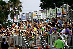 22 June 2016. New Orleans, Louisiana.<br /> NPSL Soccer, Pan American Stadium.<br /> New Orleans Jesters v Nashville FC. Fans in the stands. Jesters emerge victorious with a 2-0 win.<br /> Photo; Charlie Varley/varleypix.com