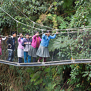 A group of school children from the Queros-Wachiperi Native Community visit the Wayqecha Cloud Forest Research Center 1,450 acre research center which protects cloud forest on the Eastern slopes of Andes in the Kcosñipata Valley, Peru (3000 meters above sea level).  Wayqecha is  run by the Amazon Conservation Association and the Asociación para la Conservación de la Cuenca Amazónica and is part of their strategy to protect the Amazon headwaters.