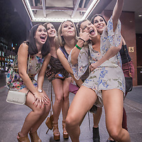 Communications student Elisa Pedder and her UC Davis classmates make a selfie in front of the Marriott prior to a night on the town on Mission Street in San Francisco, California  erpedder@ucdavis.edu