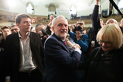 © Licensed to London News Pictures . 20/04/2017 . London , UK . JEREMY CORBYN and JAMES SCHNEIDER leave after Corbyn delivers a speech to launch the Labour Party's campaign in the 2017 General Election , at Church House in Westminster . Photo credit: Joel Goodman/LNP