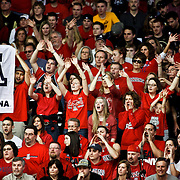 SHOT 1/21/12 6:24:36 PM - Arizona basketball fans cheer for their team against Colorado during their PAC 12 regular season men's basketball game at the Coors Events Center in Boulder, Co. Colorado won the game 64-63..(Photo by Marc Piscotty / © 2012)