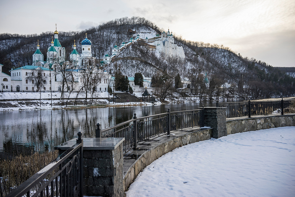 The Holy Mountains Lavra, a famous Orthodox Christian monastery, the centerpiece of the town now housing many people who have fled fighting between pro-Russia rebels and Ukrainian forces on Monday, February 9, 2015 in Svyatogorsk, Ukraine.