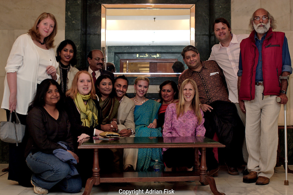 The Oxfam team in Delhi with Bollywood actor Rahul Bose and Scarlett Johansson