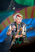 HAVANA, CUBA - MARCH 25, 2016: Keith Richards performs with The Rolling Stones at Ciudad Deportiva on March 25, 2016 in Havana, Cuba. The Rolling Stones performance is the first by a major international rock band in Cuba, coming days after a historic visit by President Barack Obama of the United States, and a game between the Tampa Bay Rays and the Cuban National Team at Estadio Latinoamericano. The Cuban government banned rock music on Cuban state TV and radio following the Cuban the revolution, and nearly a half-million people are in attendance to be part of the historic event. (Photo by Jean Fruth)