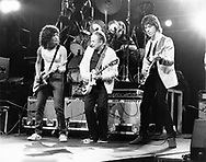"""Jeff Beck 1983 with Les Paul and Billy Squier at """"Rock And Roll Tonite"""" TV Show 1983..Photo by Chris Walter/Photofeatures.."""