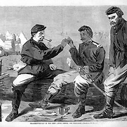 """""""Thanksgiving Day in the Army- after dinner, the wish-bone"""" by Winslow Homer December 3, 1864 Harper's Weekly. Civil War"""