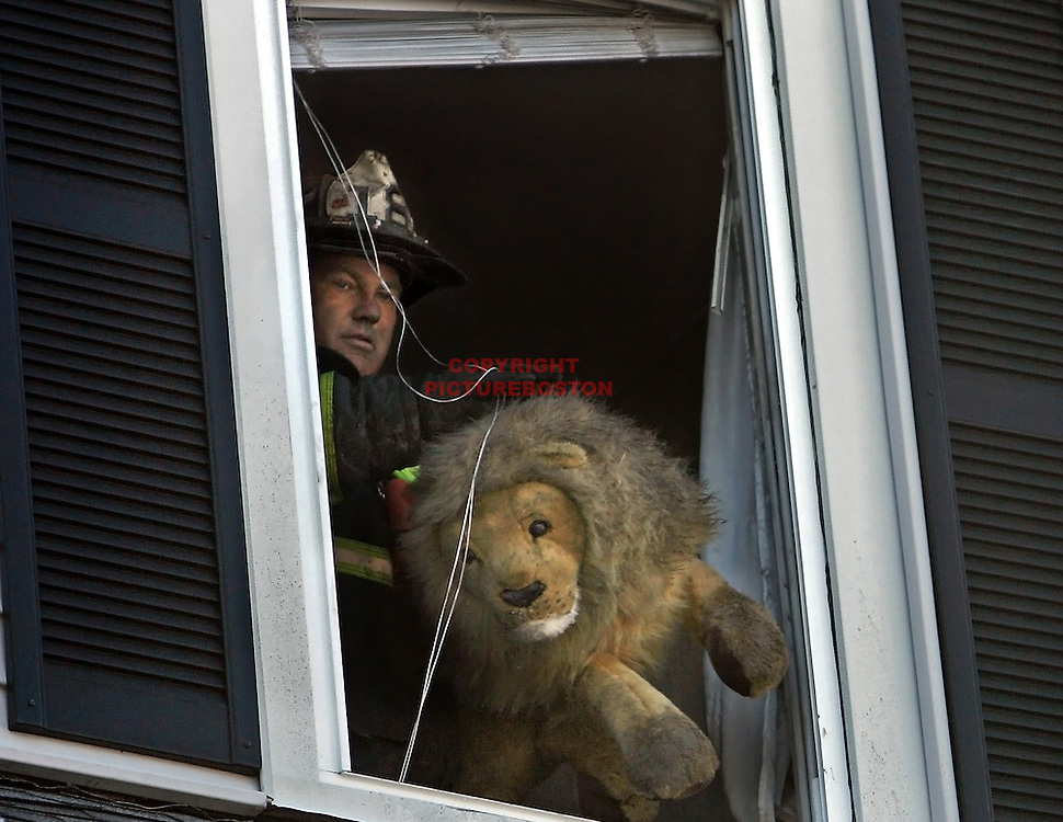 Fire in Dorchester section of Boston. Late morning fire at 14 Ashland St sent the owner, Ann Marie keefe and her several pets scampering to safety. Here, a stuffed lion is cleared by fire Lt Ed Paris.