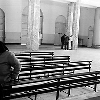 DONGLU, 11 MARCH 2001:an elderly woman leaves the church after mass. China cut relations with the vatican in the early fifites and since then, established a Patriotic catholic Church that's controlled by Chinese authorities.<br />