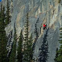 Steve Campbell leading a 5.11a Rock Climb at Barrier Mountain in Kananaskis, Canadian Rockies, Canada
