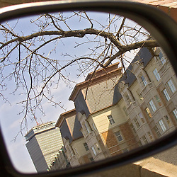 Commonwealth Avenue buidings reflected in auto side mirror, Boston,MA.