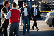 GOP presidential candidate Mitt Romney arrives at Western Nevada Supply with Secret Service detail in tow in Sparks, Nev., February 3, 20112.