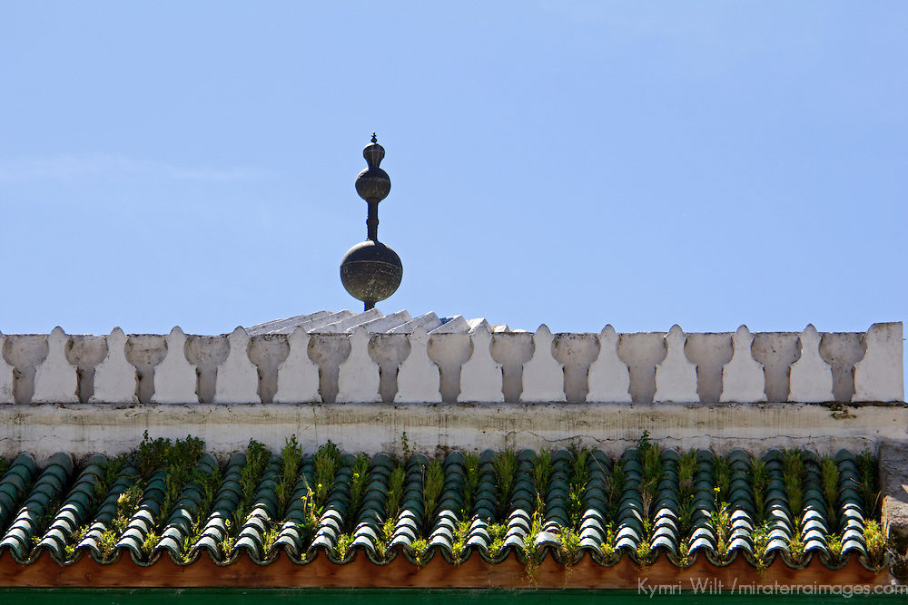 Africa, Morocco, Fes. Green tile roof of Karaouine University, or al Qarawiyyin, in Fes.