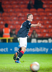 FAlkirk's Ally Graham scores their second goal..Falkirk win on penalties. Dundee Utd 2 v 2 Falkirk. Scottish Communities League Cup, 25/10/2011..Pic © Michael Schofield.