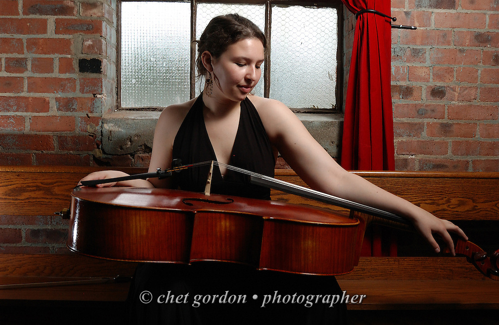 Cellist Victoria Franck photographed at THE WHEREHOUSE Restaurant in Newburgh, NY on Sunday, June 6, 2010.