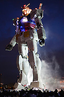 "Gundam was series of Japanese anime created by Sunrise Studios that featured giant robots called ""Gundam.""  An eighteen metre tall statue of the title robot was installed at Odaiba, Tokyo's landfill island, in August 2009."