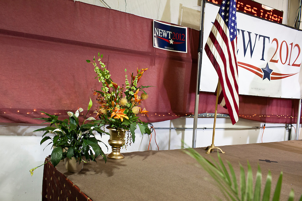 A corner of the stage before a rally with Republican presidential candidate Newt Gingrich at his campaign office on Monday, January 2, 2012 in Davenport, IA.