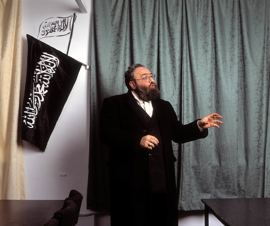 Radical Islamic cleric, Omar Bakri Mohammed at his 'office' in North London..