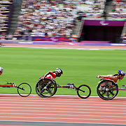 WHEELCHAIR RACE AT THE LONDON 2012 PARALYMPIC GAMES