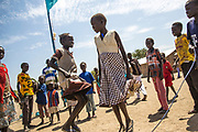 Children play in the playground at the Machakos Primary School in Bentiu, South Sudan, which was cleared by UNMAS in July 2015 after fighting in the area had littered Bentiu Town with unexploded ordnance.<br /> <br /> Photo: UNMAS/ Martine Perret