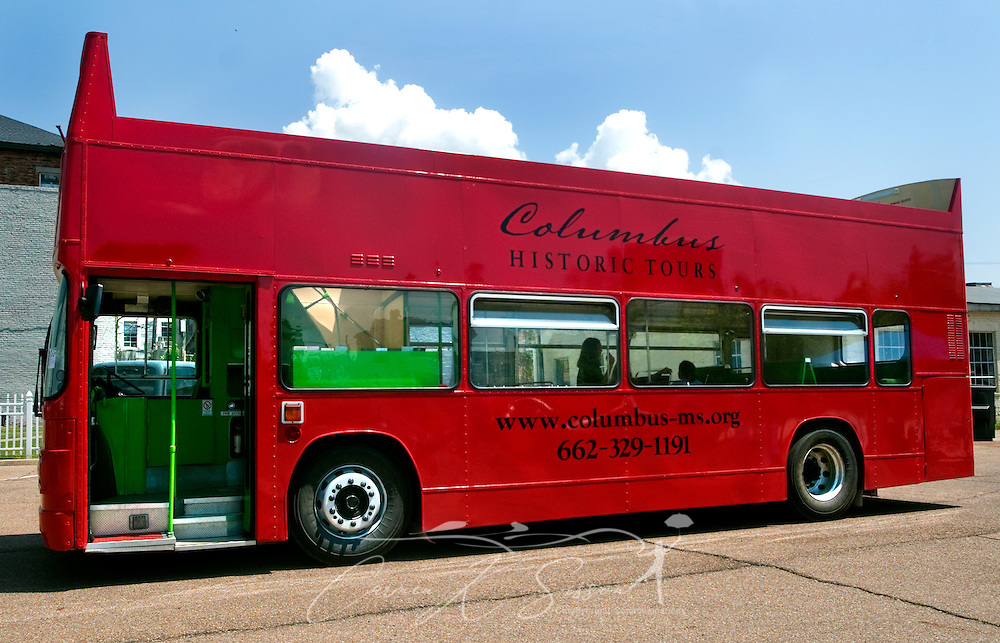An authentic British, double-decker tour bus sits outside the Tennessee Williams Welcome Center in Columbus, Miss. April 17, 2010. Rides are $8 and include stops at many of the historic, antebellum homes throughout the city. (Photo by Carmen K. Sisson/Cloudybright)