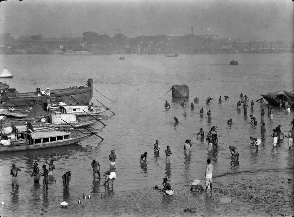 Bathing Ghat in the River Hooghly, Calcutta, India, 1929