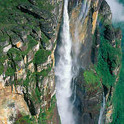 Aerial of Angel Falls highest waterfall in world in Canaima National Park Auyantepui table mountain Venezuela